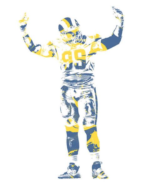 Wall Art - Mixed Media - Aaron Donald Los Angeles Rams Pixel Art 12 by Joe Hamilton