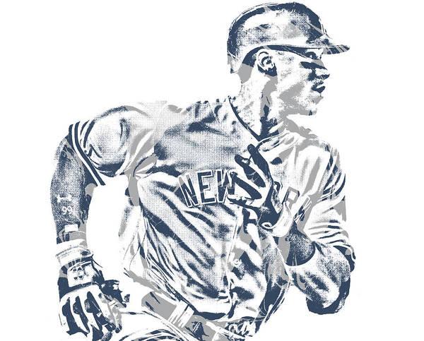 Wall Art - Mixed Media - Aaron Judge New York Yankees Pixel Art 21 by Joe Hamilton