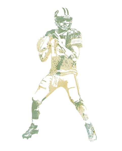 Wall Art - Mixed Media - Aaron Rodgers Green Bay Packers Water Color Pixel Art 10 by Joe Hamilton