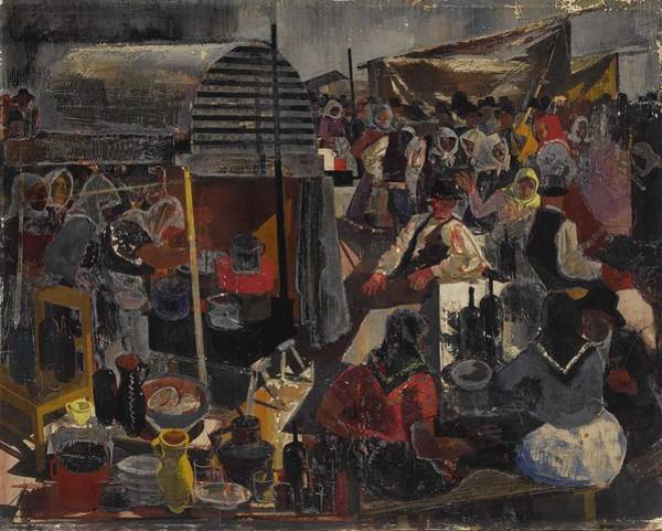 Wall Art - Painting - Aba-novak, Vilmos At The Market by Celestial Images