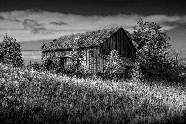 Wall Art - Photograph - Abandoned Barn In Black And White On A Farm In The Early Morning by Randall Nyhof