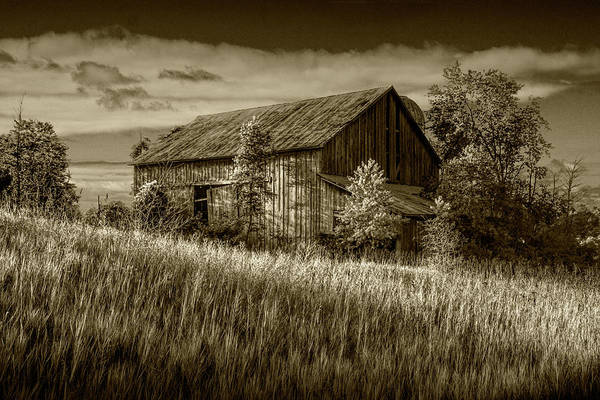 Wall Art - Photograph - Abandoned Barn In Sepia Tone On A Farm In The Early Morning Sunl by Randall Nyhof
