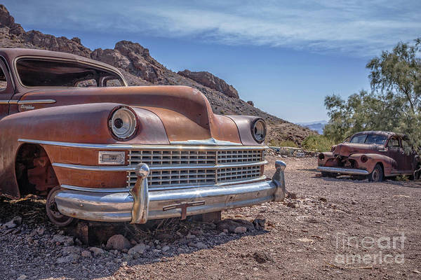 Ghost Town Photograph - Abandoned Cars In The Desert by Edward Fielding