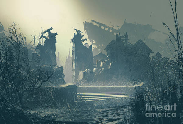Exterior Wall Art - Digital Art - Abandoned City In Heavy Rain,landscape by Tithi Luadthong