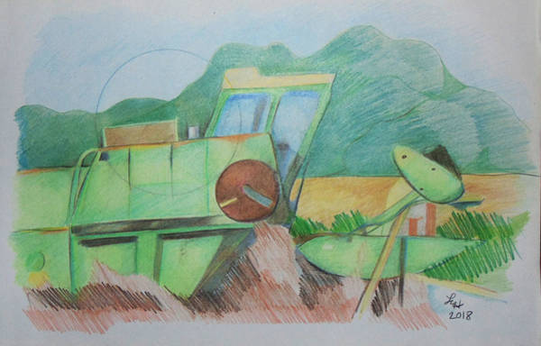 Drawing - Abandoned Combine by Loretta Nash