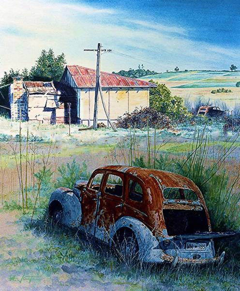 Painting - Abandoned Farm And Cars by Hartmut Jager