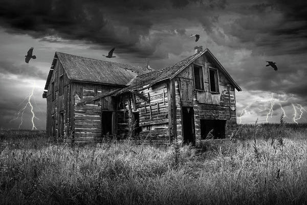 Photograph - Abandoned Farm House In A Thunder Storm With Black Crows In Black And White by Randall Nyhof