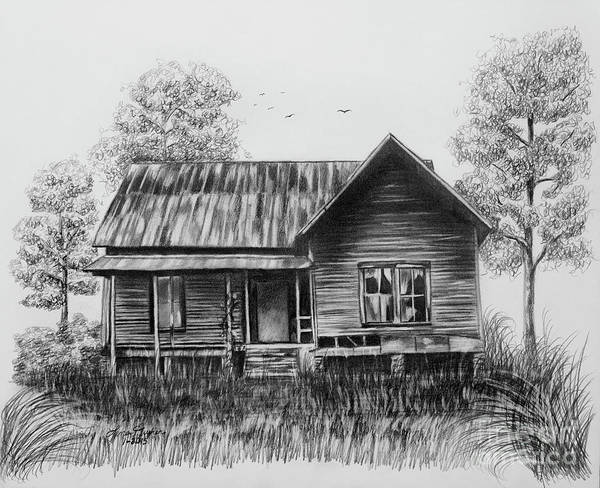 Wall Art - Drawing - Abandoned House by Lena Auxier