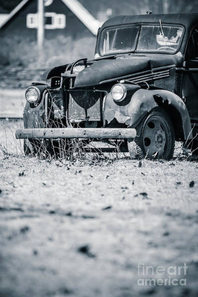 Wall Art - Photograph - Abandoned Old Pickup Truck On A Farm In Vermont by Edward Fielding