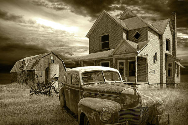Photograph - Abandoned Small Farm With Old Vintage Auto In Sepia Tone by Randall Nyhof