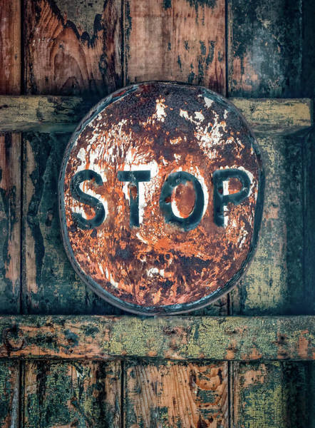 Photograph - Abandoned Stop Sign Abstract by Gary Slawsky