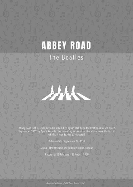 Wall Art - Mixed Media - Abbey Road The Beatles Greatest Albums Of All Time Minimalist Series by Design Turnpike