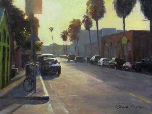 Wall Art - Painting - Abbot Kinney Sunset by Anna Rose Bain