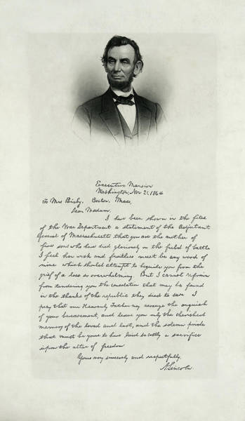Wall Art - Photograph - Abe Lincoln Letter To Civil War Mother 1864 by Daniel Hagerman