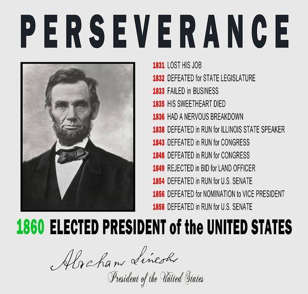 Wall Art - Digital Art - Abe Lincoln Perseverance - T-shirt by Daniel Hagerman