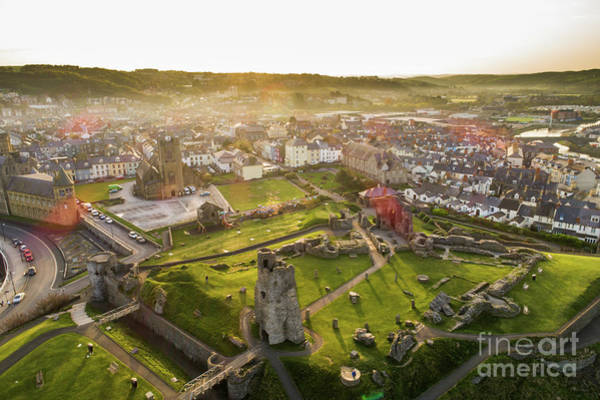 Photograph - Aberystwyth Castle From The Air At Dawn by Keith Morris