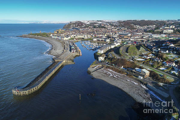 Aberystwyth Harbour From The Air In Winter Art Print