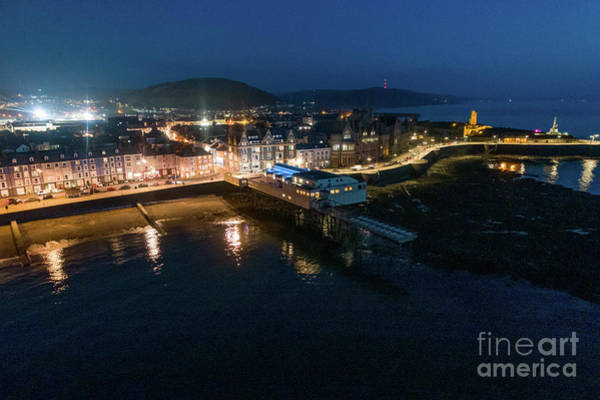 Photograph - Aberystwyth Wales At Night From The Air by Keith Morris