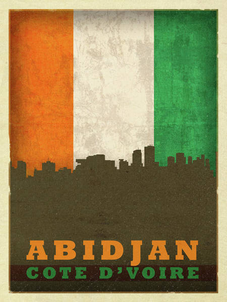 Wall Art - Mixed Media - Abidjan Ivory Coast World City Flag Skyline by Design Turnpike