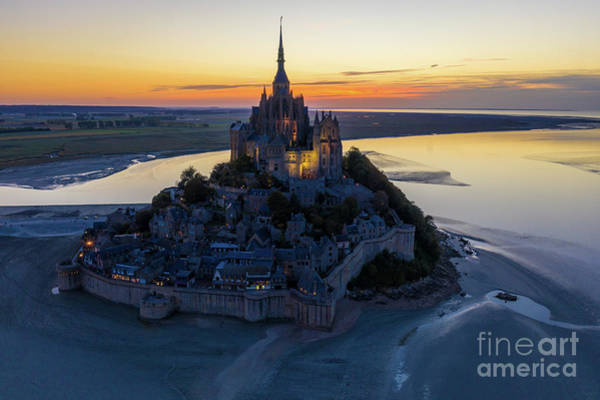 Wall Art - Photograph - Above Mont St Michel At Dusk by Mike Reid