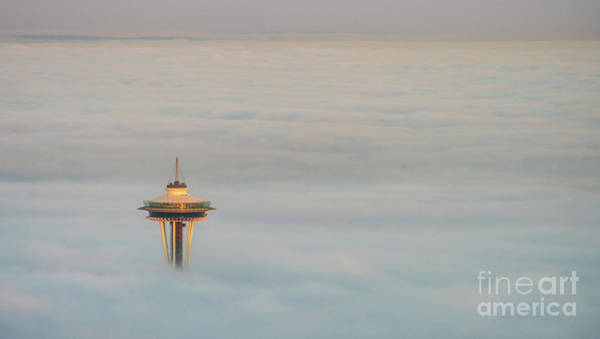 Wall Art - Photograph - Above The Clouds Seattle Space Needle At Sunrise by Mike Reid