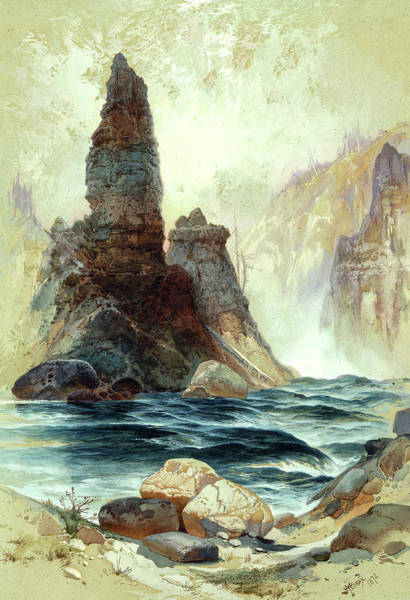 Wall Art - Painting - Above Tower Falls, Yellowstone, 1872 by Thomas Moran