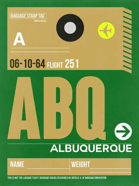 Wall Art - Digital Art - Abq Albuquerque Luggage Tag I by Naxart Studio