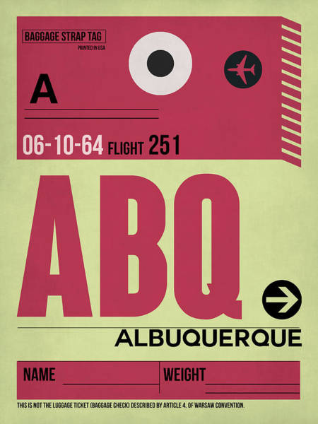 Wall Art - Digital Art - Abq Albuquerque Luggage Tag II by Naxart Studio