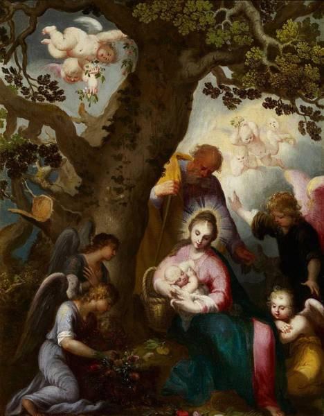 Wall Art - Painting - Abraham Bloemaert Gorcum, 1566 - Ultrecht, 1651 The Flight Into Egypt by Celestial Images