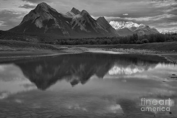 Photograph - Abraham Lake Reflections Black And White by Adam Jewell