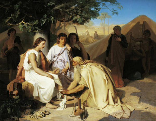 Believers Painting - Abraham Washing The Feet Of The Three Angels by Emile Levy