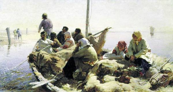 Wall Art - Painting - Abram Arkhipov - Down The Oka River by Celestial Images