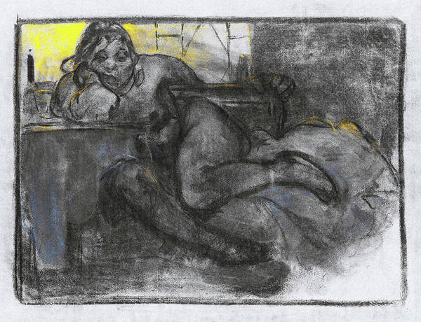Alfons Mucha Painting - Absinth, Study Of A Woman - Digital Remastered Edition by Alfons Maria Mucha
