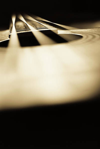 Chord Wall Art - Photograph - Abstract Acoustic Bass Guitar Background by Ilbusca
