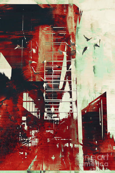 Brush Stroke Wall Art - Digital Art - Abstract Architecture With Red Grunge by Tithi Luadthong