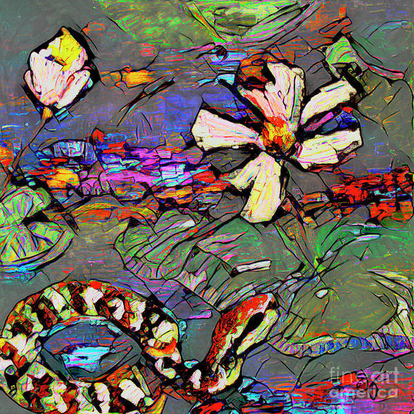 Mixed Media - Abstract Art Copperhead Snake And Lotus by Ginette Callaway
