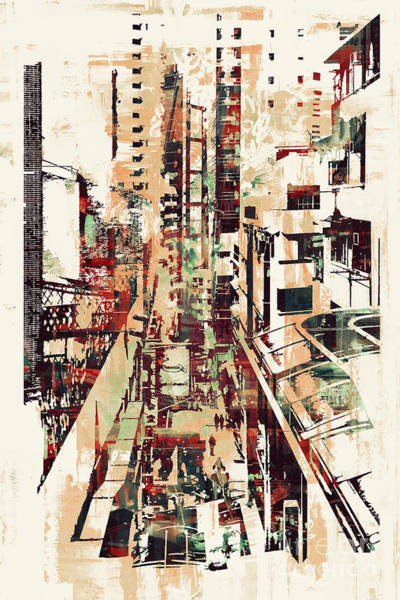 Wall Art - Digital Art - Abstract Art Of Cityscape,illustration by Tithi Luadthong