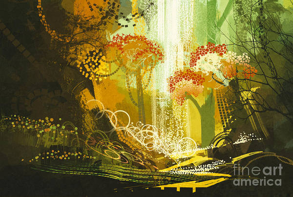 Scenery Digital Art - Abstract Autumn Forest With by Tithi Luadthong