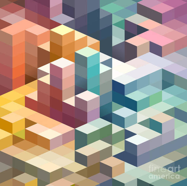 Repetition Wall Art - Digital Art - Abstract Background Of Geometric Shapes by Theromb