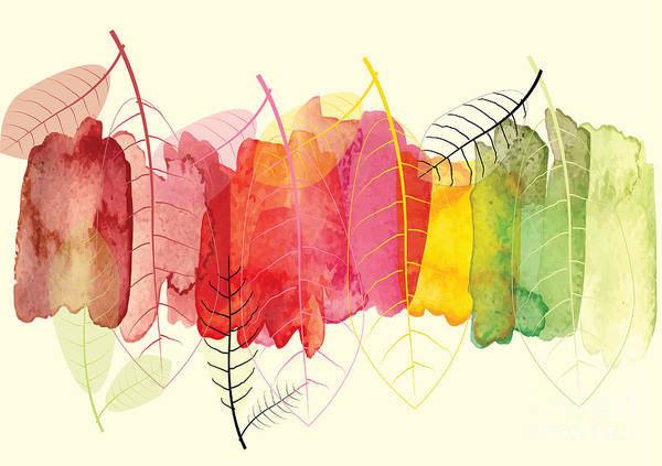 Color Image Digital Art - Abstract Background With Leaves To Show by Supawadee