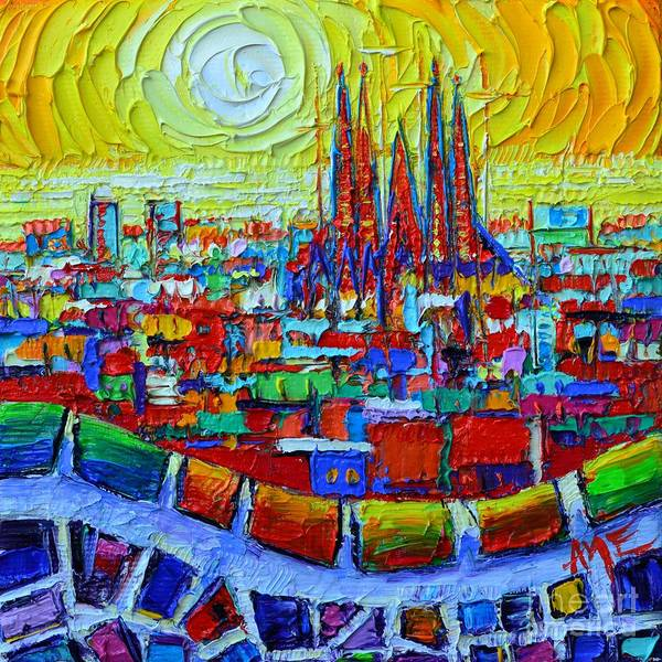 Painting - Abstract Barcelona Sunrise Sagrada Familia From Park Guell With Colorful Abstract City Patterns by Ana Maria Edulescu