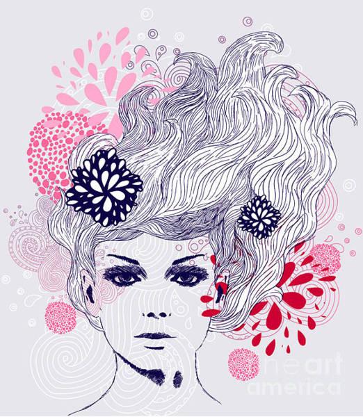 Wall Art - Digital Art - Abstract Beautiful Hand-drawn Woman by Axro