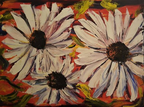 Painting - Abstract Black Eyed Susans       45 by Cheryl Nancy Ann Gordon