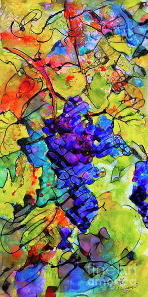 Mixed Media - Abstract Blue Grapes by Ginette Callaway