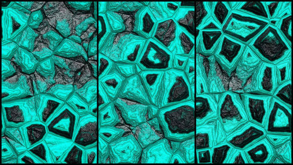 Digital Art - Abstract Blue Green Stone Wall Triptych by Don Northup