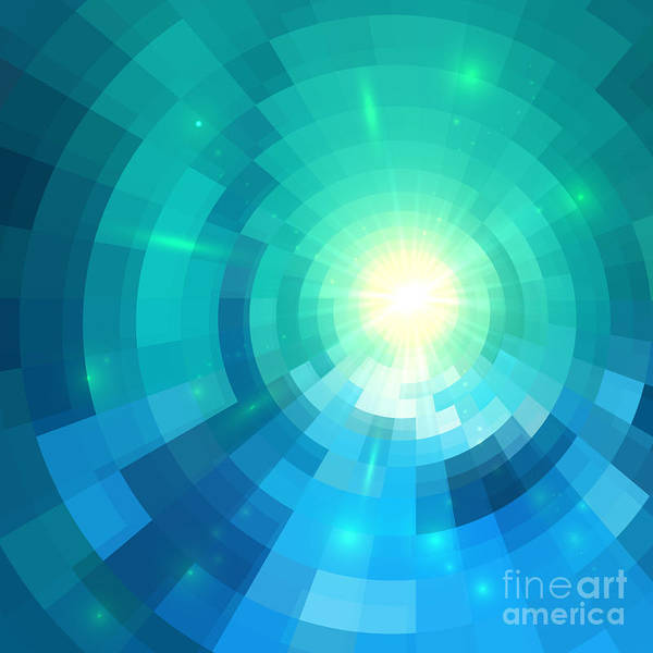 Wall Art - Digital Art - Abstract Blue Shining Circle Tunnel by Art of sun