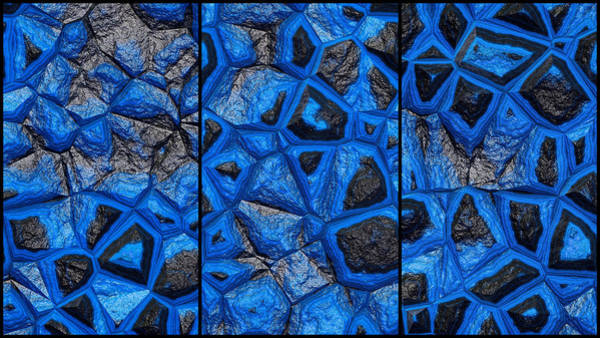 Digital Art - Abstract Blue Stone Wall Triptych by Don Northup