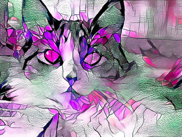 Digital Art - Abstract Calico Cat Purple Glass by Don Northup
