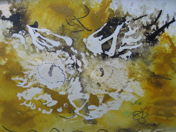 Drawing - Abstract Cat Face Yellows And Browns by AJ Brown