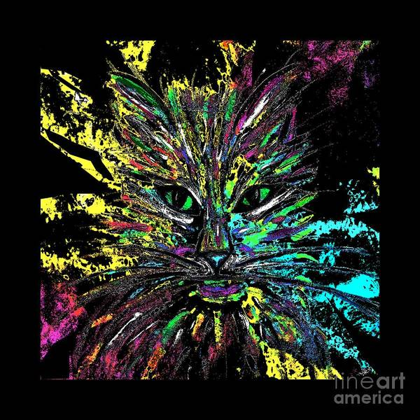 Painting - Abstract Cat  by Jessie Art